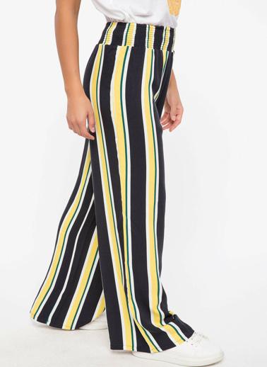 DeFacto Bel Lastik Detaylı Çizgili Pantolon Lacivert